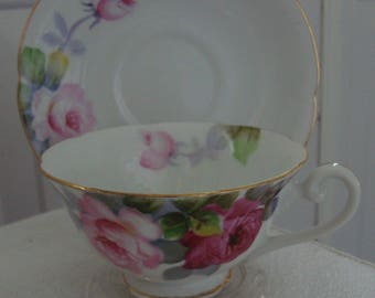 Vintage Diamond Bone China Tea Cup and Saucer Made in Occupied Japan