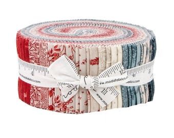 """Moda Fabrics Snowberry Prints by 3 Sisters Jelly Roll 2.5"""" PreCut Quilting Cotton Strips Fabric Strips - Christmas"""