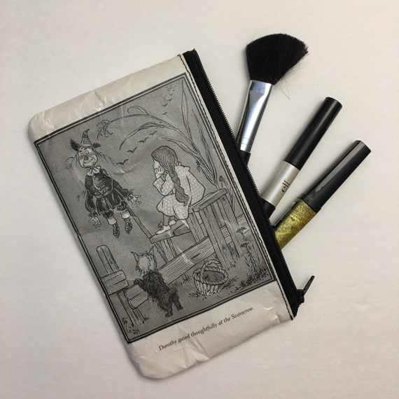 Wizard of Oz Book Themed Vinyl Pencil or Make-Up Pouch - Dorothy and the Scarecrow