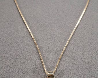 vintage sterling silver with gold overlay pendant necklace with green agate stone, 18 inch box chain  M4