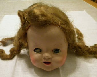 Creepy Vintage Doll Head  - Sleep Eyes Doll Head -  Doll Resoration -  Altered Art Doll Supply - Mixed Media Supply -