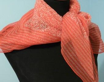 Diane Von Furstenberg Red Chiffon Silk Scarf