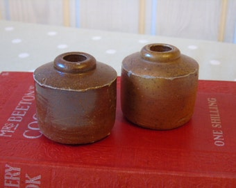 2 Tiny Antique Stoneware Glazed Ink Bottles - Ink Wells - Vase - Crock - Kitchenalia - Rustic Display