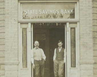 The Bankers - Vintage 1910's State Savings Bank Occupational RPPC Real Photo Postcard - Free Shipping