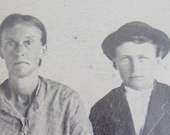 Original 1880's Hard Working Mother And Son Tintype Photograph - Free Shipping