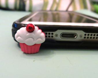 Choose your color-- Cupcake cell phone charm, dust plug charm, shower gift