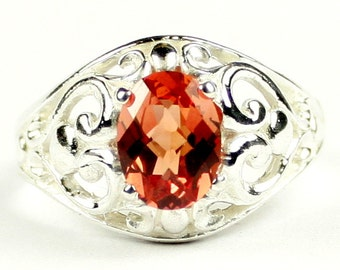 Created Padparadsha Sapphire, Sterling Silver Ring, SR111
