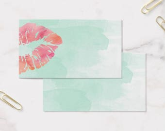 Business Card Template, LIPSENSE/SENEGENCE Business Card, Instant Download DIY Blank Business Card Template -Teal Watercolor Lips