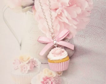 necklace romantic cupcake polymer clay