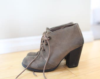 vintage suede brown leather oxfords ankle boots lace up womens 8 1/2
