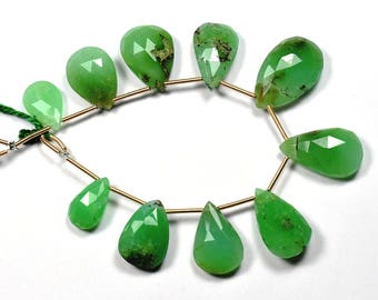 7 Inch Strand-8x13-13x21mm-Natural Chrysoprase Faceted Pear Shape Briolette Beads Strand 10 Beads(2911-12)