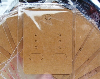 Earring Display Cards (6.7-7cm x 5cm) With Self Adhesive Bags ~ Light Mocha Plain