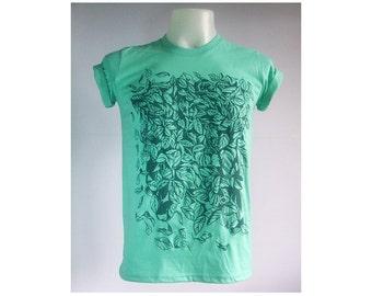 Natural environment design Leaves Leaf Season change Nature Plant Graphic Mint Green T-Shirt Size S-XL
