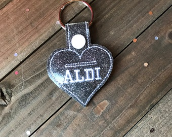 Aldi Keychain Aldi Quarter Keeper Aldi Key Chain Aldi Quarter Holder Snap Tab Key Fob Quarter Saver---70 Colors!  Aldi Heart