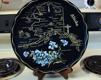 Alaska State serving tray, State serving tray, Alaska metal serving tray wall hanging, Alaska home decor