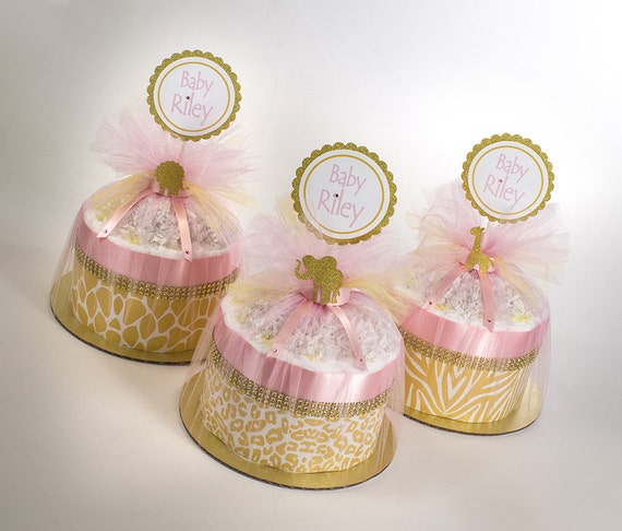 Safari Diaper Cake - Mini Diaper Cake Set - Safari Baby Shower - Pink and Gold Safari  - Baby Shower Centerpiece