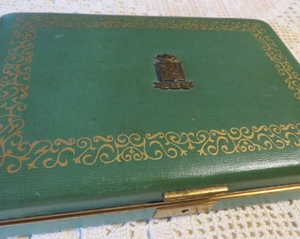 Jewelry Box by Farrington USA Metal Emblem in Greek  //  Texol on Outside & Velvet Satin Inside  //  Green W/ Gold Embellishment