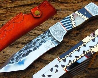 "High Carbon Steel Handmade 4.5""Saw Blade Tanto Hunting knife w/ Bone,Horn, Steel Bolsters, File-Work,Kerinit & Sheath Cover UDK-F-28"