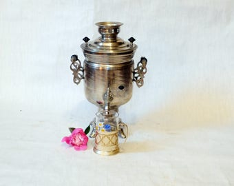 Large Soviet Russian Samovar with Cup -Working -  Electric Metal Tea Pot - Nickel Plated Brass - 1980s - from Russia / Soviet Union / USSR
