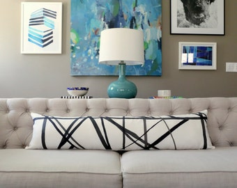 Channels Ebony/Ivory Designer LUMBAR Pillow Cover - Kelly Wearstler - Made to Order - Choose Your Size