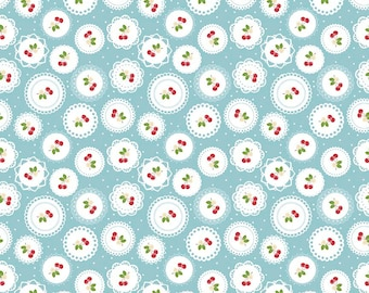 Sew Cherry 2 Doily Aqua - C5802-Aqua by Lori Holt of A Bee in My Bonnet for Riley Blake Designs