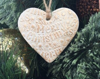 Christmas heart decoration, white and gold heart, christmas ornament, rustic christmas