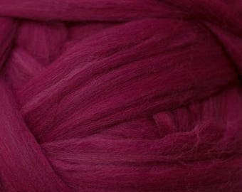 Dyed Merino - Ruby - Solid color commercial dyed - combed top roving spinning felting fiber fibre arts - Dark red purple