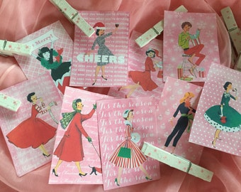 Set of 9 Pink Christmas Gift Bag Art Tags Label & 9 Decated Clothespins Clips Shabby Chic Mid-Century Kitschy Whimsical Retro Women Ladies
