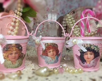 Pink Victorian Angels Mini Tins Pails Buckets Christmas Tree Ornament Table Centerpieces Decorations Shabby Chic Decor Decoupage Gift Idea