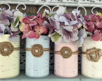 Shabby Chic Painted Tin Can Vase Rustic Distressed Table Centerpiece Wedding Reception Baby Shower Party Home Decor Decoration 34 COLORS