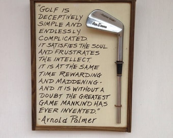 The Perfect Golf Gift- Reclaimed Wood and Vintage Golf Club Plaque- Golf is...