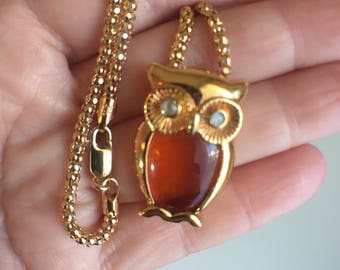14 k gold over silver chain with owl pendant
