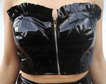 Shiny PVC Strapless Zipper Top with Ruffle Trim