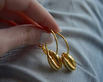 Gold cowrie hoops, cowrie earrings, shell hoops, charm hoops, gold charm hoops