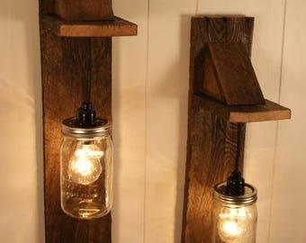 Pair of Reclaimed Wooden Mason Jar Chandelier Wall Mount Fixtures