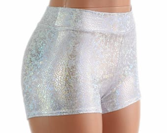 Midrise Silver on White Shattered Glass Holographic Metallic Spandex Shorts  Festival Rave Clubwear 154520