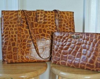 Genuine Leather Reptile Embossed Tote and Clutch Cross Body Matching Set Brown Travel Shopper Set