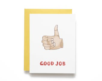 Good Job. Thumbs Up. Congratulations Watercolor Card.
