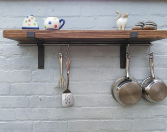 kitchen shelves solid wood pan hanger Shelf complete with pan hanging rod  (1 shelf) 22 cm deep pine shelving