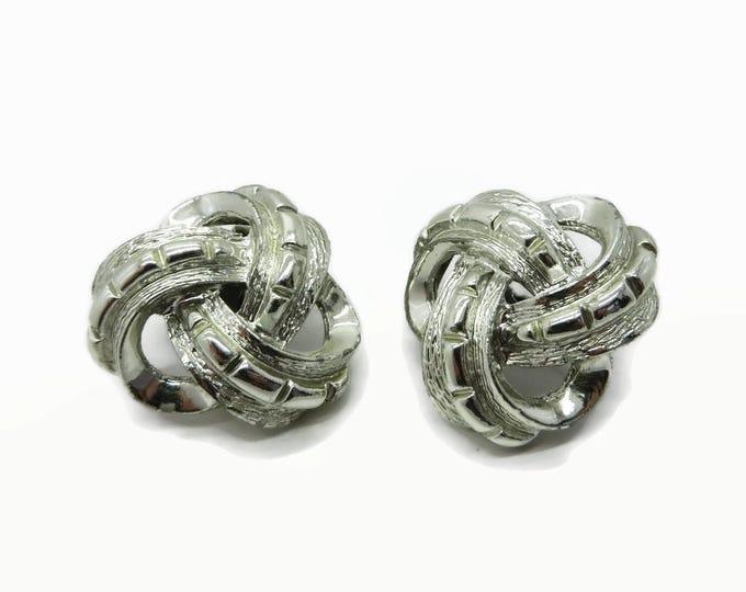 Coro Celtic Knot Earrings, Vintage Silver Tone Clip-ons