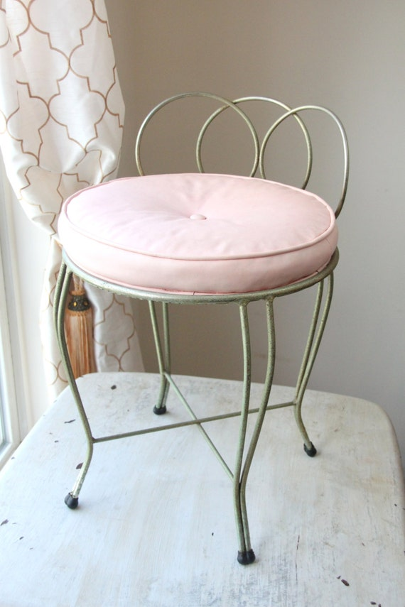 pink and brass vanity seat bathroom chair pink cushion