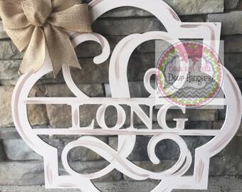 UNPAINTED  monogram door hanger, Monogram Door sign, initial door hanger, wedding door decor, wedding decor, wedding door hanger