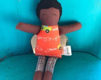 Birthday Gift for Kids • Handmade Cloth Doll • Race Cars Boy Doll • Mini Rag Doll • Toddler Gift • Old Fashioned Toy • Dark Skin Doll