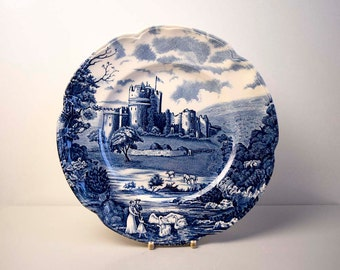 Vintage Johnson Brothers Stoke on Trent Made in England Romantic 'Castle Story' Blue and White Transferware Ironstone Lunch Plate