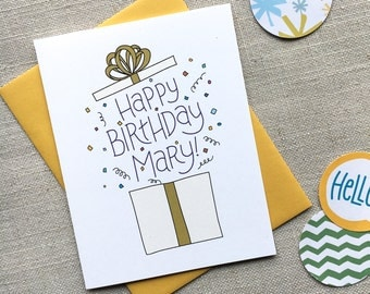 Custom Birthday Card  / Illustrated Birthday Present / Hand Lettered Birthday Greeting Card / Birthday Gift