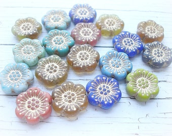 2 Assorted Anemone Flower Beads 18 mm