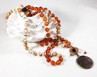 Mala Meditation Necklace - Carnelian - 108 Bead Necklace - Agate