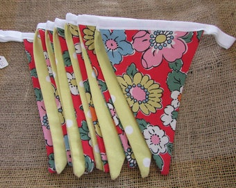 Cath Kidston Red Floral and Yellow Spot Bunting.