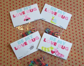 Set of 10 Be My Love Bug valentines, with 3 bug erasers, 3.5 by 2 inches, with cellophane bag