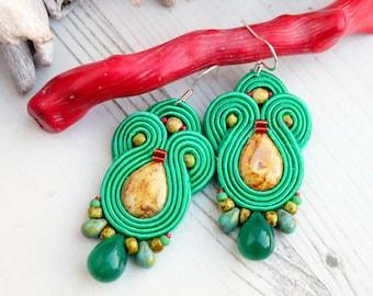 Green Soutache Earrings-Green Hippie Boho Earrings-Green Statement Earrings-Beaded Dangle Earrings-Czech Beads EarringsSilver Hooks